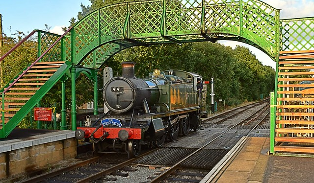GWR Large Prairie Tank Loco 4141 moves towards its train at North Weald, in the last of the Suns light. 26 08 2015