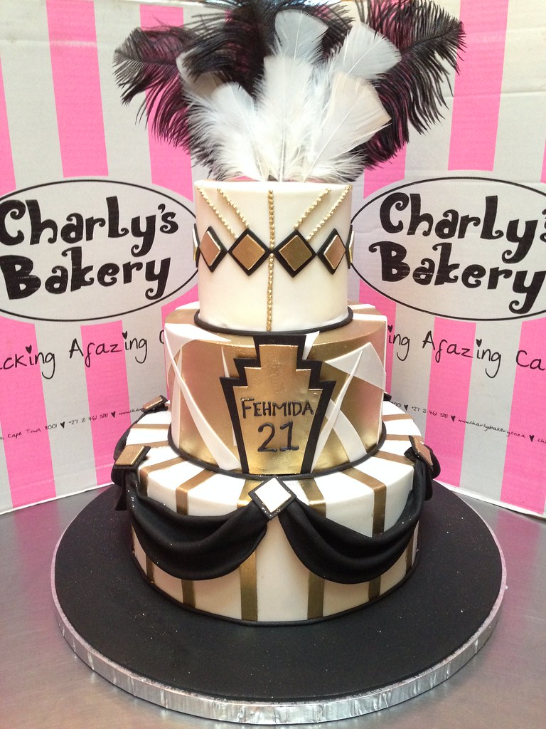 Incredible 3 Tier Great Gatsby Themed 21St Birthday Cake In Black White And Personalised Birthday Cards Akebfashionlily Jamesorg
