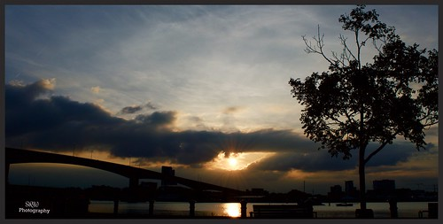 uk bridge trees sunset england sky cloud sun sunlight water clouds reflections landscape nikon shadows outdoor dusk silouette southampton d3200 photoborder