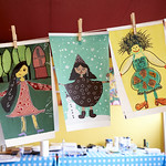 Drawings of people from around the world | Colourful drawings displayed in our Story Box © Helen Jones