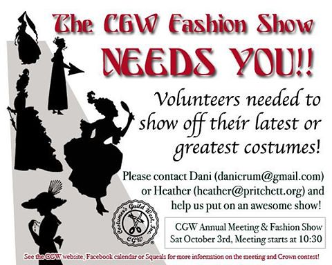 The @CGWInc #FashionShow needs you!  For more details on the Fashion Show,  #CrownChallenge, and our #annualmeeting please visit our page here: http://129.121.107.232/~costumer/cgw-annual-meeting-fashion-show-competition/    #CGW #cgwcrownchallenge #costu