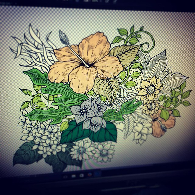 I've started coloring with photoshop cs6 #doodle #color #floral #flower #illustrator #illustration #illustrations #art #artist #artwork #artistic #photoshop #botanical #ink #pattern