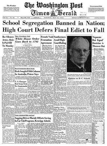 Washington Post leads with end of school segregation: 1954 | by Washington Area Spark