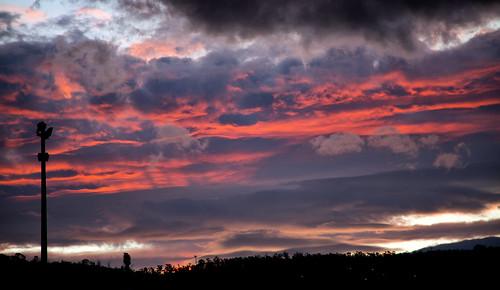 sunset red sky clouds tasmania hobart