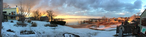 panorama 200º winter snow ice sunset red orange blue yellow sky clouds silhouette skyline cascobay peaksislandmaineusa peaksisland portland maine me usa 04108 cumberlandcounty donshall origamidon