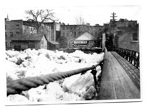 footbridge ice floods buildings ritchies frontst 1910s downtownbelleville icejams