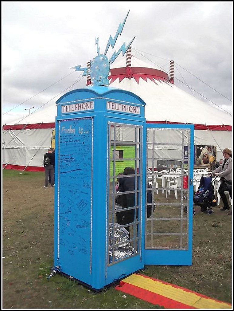 Painted Blue Phone Kiosk ..