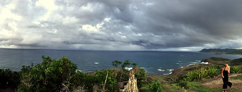 panorama woman storm girl rain weather saint st point landscape island view wind bad windy stormy grace tropical lucia caribbean