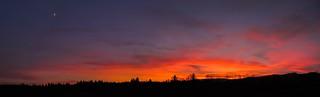 Autumn sunset with Moon