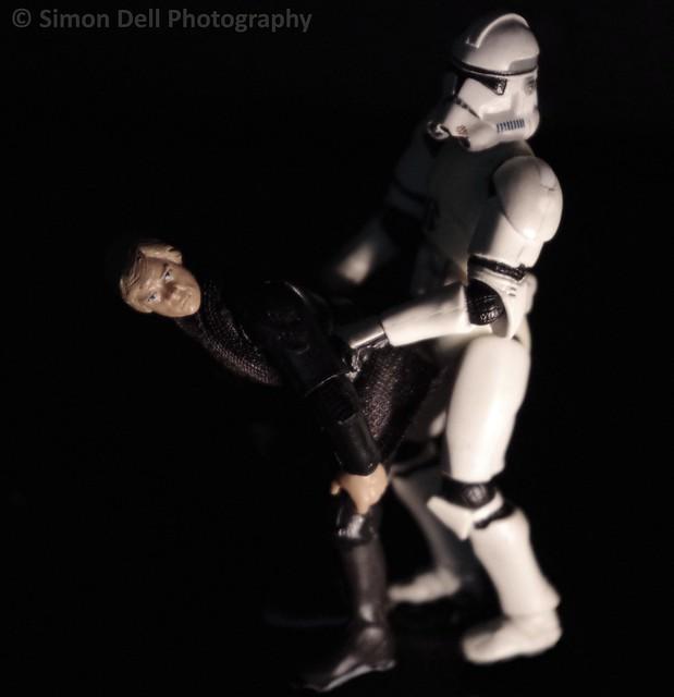storm trooper and luke skywalker