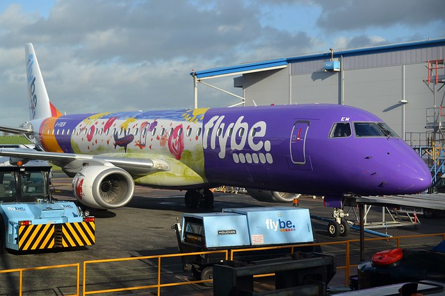 G-FBEM The first Flybe Embraer ERJ-195LR to be painted in the new colours. Seen at Exeter International Airport (EGTE)