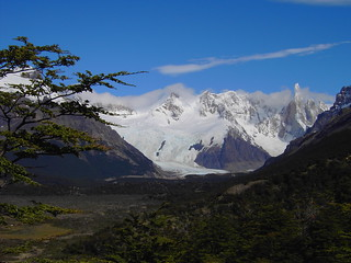 El Chalten. Patagonia. In Argentina. Walk and a climb into the mountains to view Mount Fitz Roy and the glaciers flowing down into the valley.