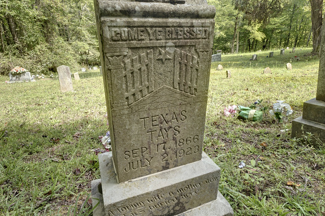 Texas Tays grave, Henry Cemetery, Putnam County, Tennessee