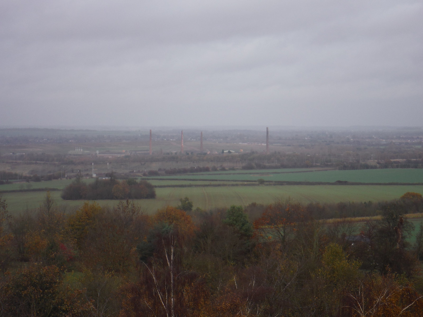 Stewartby and the listed chimneys of London Brick Company from Ampthill Park SWC Walk 232 Lidlington to Flitwick