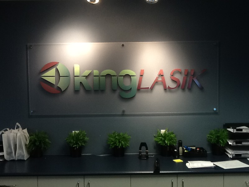 King LASIK corporate lobby sign on standoffs