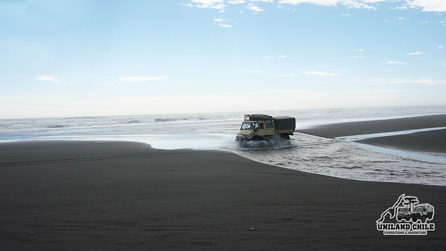Driving Unimog in the beach