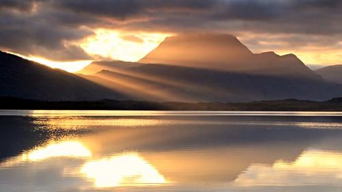 morning shadow cloud sunlight mountain lake reflection water sunshine sunrise calm serene rays loch lochmaree slioch munro slattadale