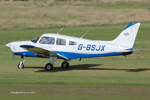 G-BSJX - 1981 build Piper PA-28-161 Cherokee Warrior II, rolling for departure on Runway 26R at Barton