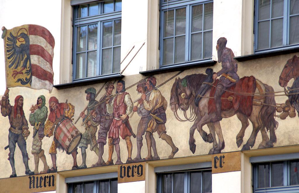 Nürnberg, Hauptmarkt, Kammergebäude, Nürnberger Tand geht durch alle Land - Chamber of Commerce, Nuremberg toys are sold in all countries