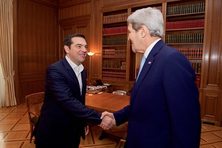 Secretary Kerry Shakes Hands with Greek Prime Minister Tsipras Before Their Meeting in Athens