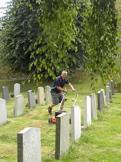 Matt Gunnett at work in the Churchyard | by Heather Wilson Parian & Paint