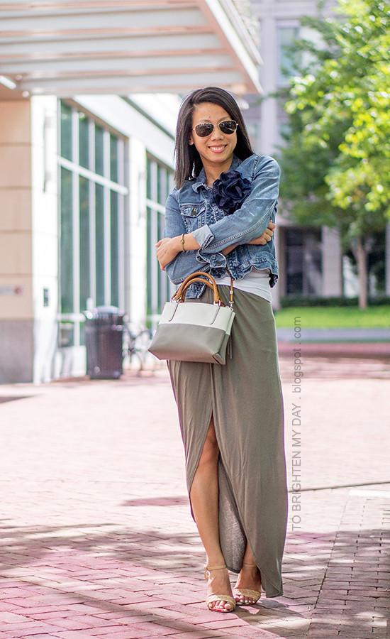 dependable performance outlet store sale best sneakers denim jacket, flower pin, olive green maxi skirt, raffia h ...