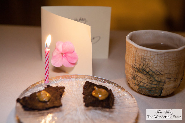 Birthday dessert and greeting of brownie crisp and peanut butter