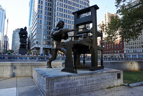 Benjamin Franklin working his press | by Henry_Lo
