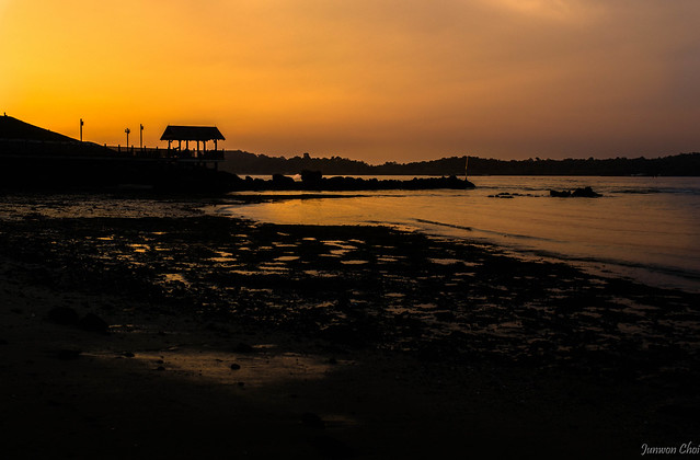 Dramatic sunnset at the Changi Point