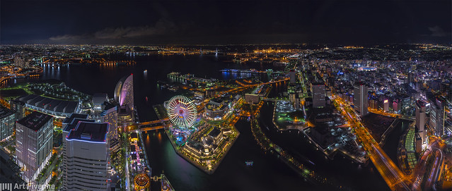 Yokohama LandMark Tower Night Panorama View