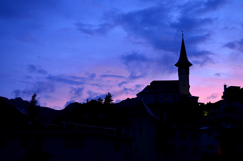 sunset purple alps mountain church arosa switzerland