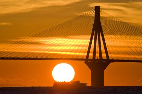 sunset sea sky silhouette ferry ship horizon cable pylon cables tamron cablebridge rioantirrio pentaxk30