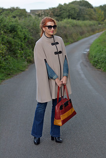 Taupe wool cape with denim jacket and flared jeans | by Not Dressed As Lamb