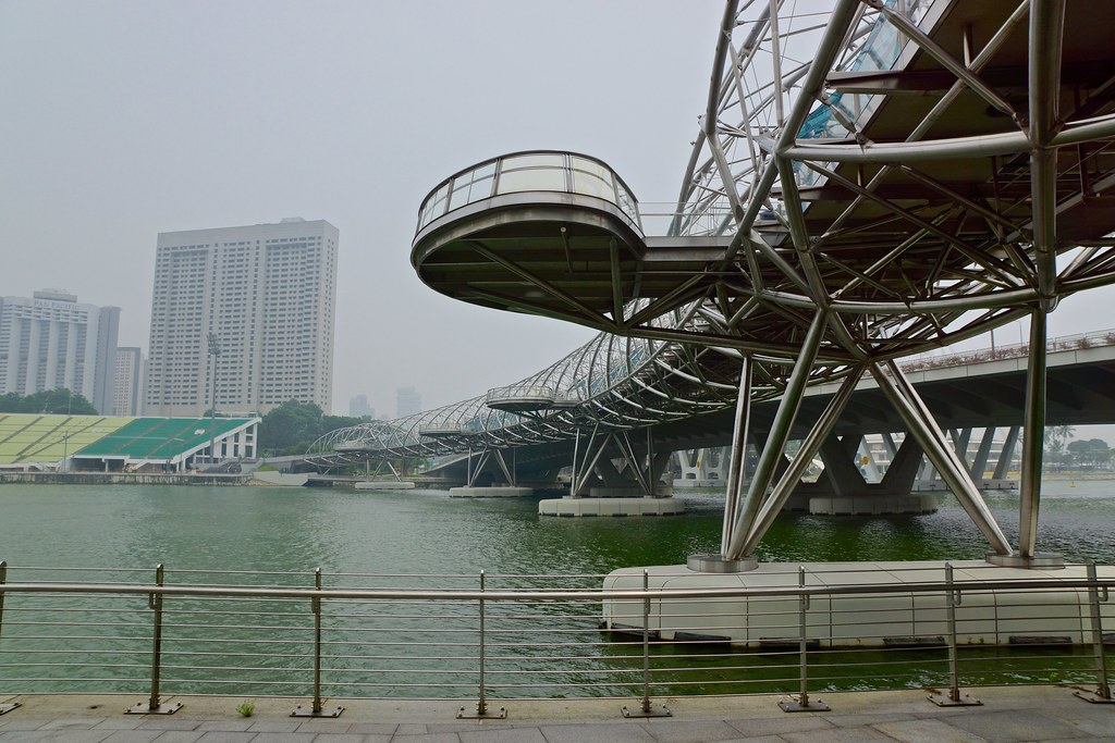 Helix bridge over the Singapore river with Formula 1 (F1) grand stands