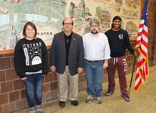 Mon, 10/19/2015 - 21:12 - left to right: Gina Buda, Vice President of the History Club; Dr. Michael Eula, Genesee County Historian; Derek Maxfield, GCC Associate Professor; Bobbi Washington, member of History Club