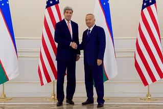 Secretary Kerry Shakes Hands With President Karimov of Uzbekistan in Samarkand