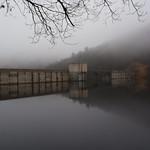 Christian E. Siegrist Dam and Reservoir in the fog.