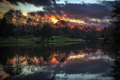 sunset lake clouds reflections december northcarolina gastonia heatherlock dorameulman