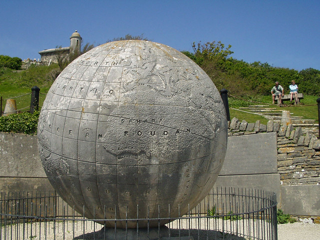Stone globe at Durlston Head
