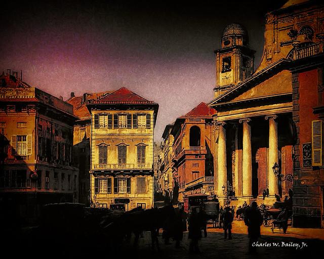 Digital Pastel Drawing of the Basilica della Santissima Annunziata del Vastato by Charles W. Bailey, Jr.