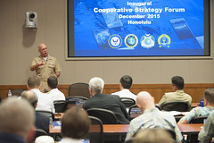 Adm. Scott Swift talks to students about regional issues in