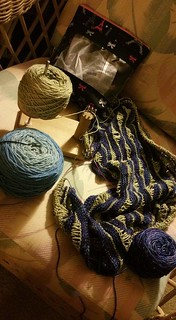 So, I won the Chicagoland yarn crawl prize from Elgin Knitworks and they had all these wonderful gorgeous shawls hanging up for display. I loved this sea lettuce pattern shawl with zen garden yarns in a light green with shimmery blue and I just finished i