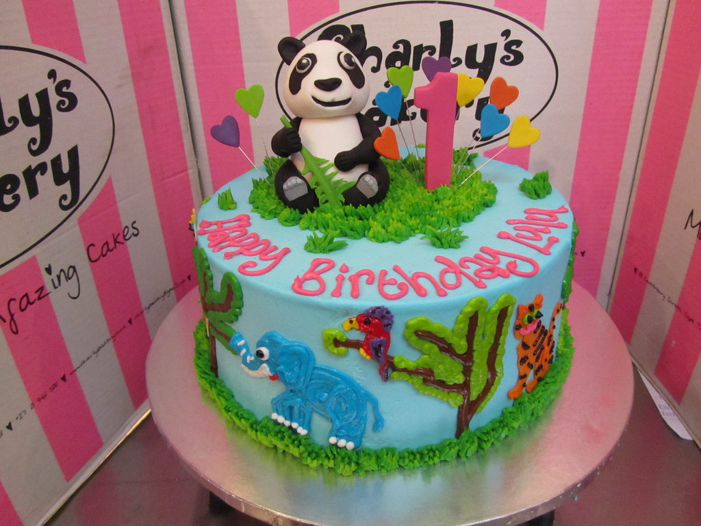 Peachy Animal Themed 1St Birthday Cake With 3D Panda On Top Pip Flickr Funny Birthday Cards Online Overcheapnameinfo