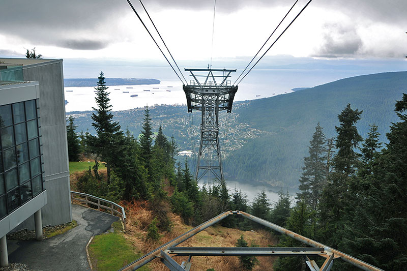 Cable Car up to Grouse Mountain Ski Resort, North Vancouver BC, British Columbia