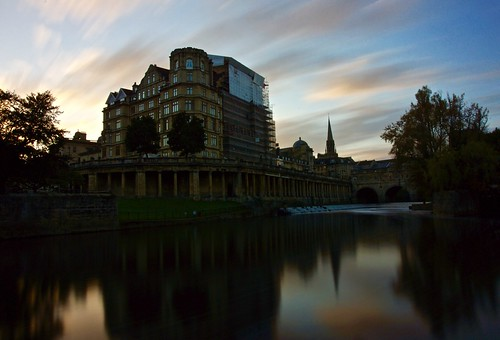 bath sunset pulteneybridge bathweir pulteneyweir clouds riveravon longexposure sony alpha a65 october 2016 reflection