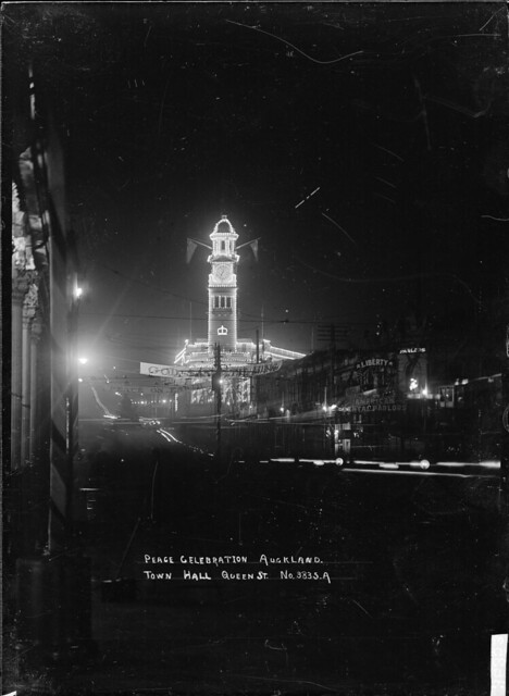 Auckland Town Hall, taken at night to show the Peace celebration illuminations - Alexander Turnbull Library