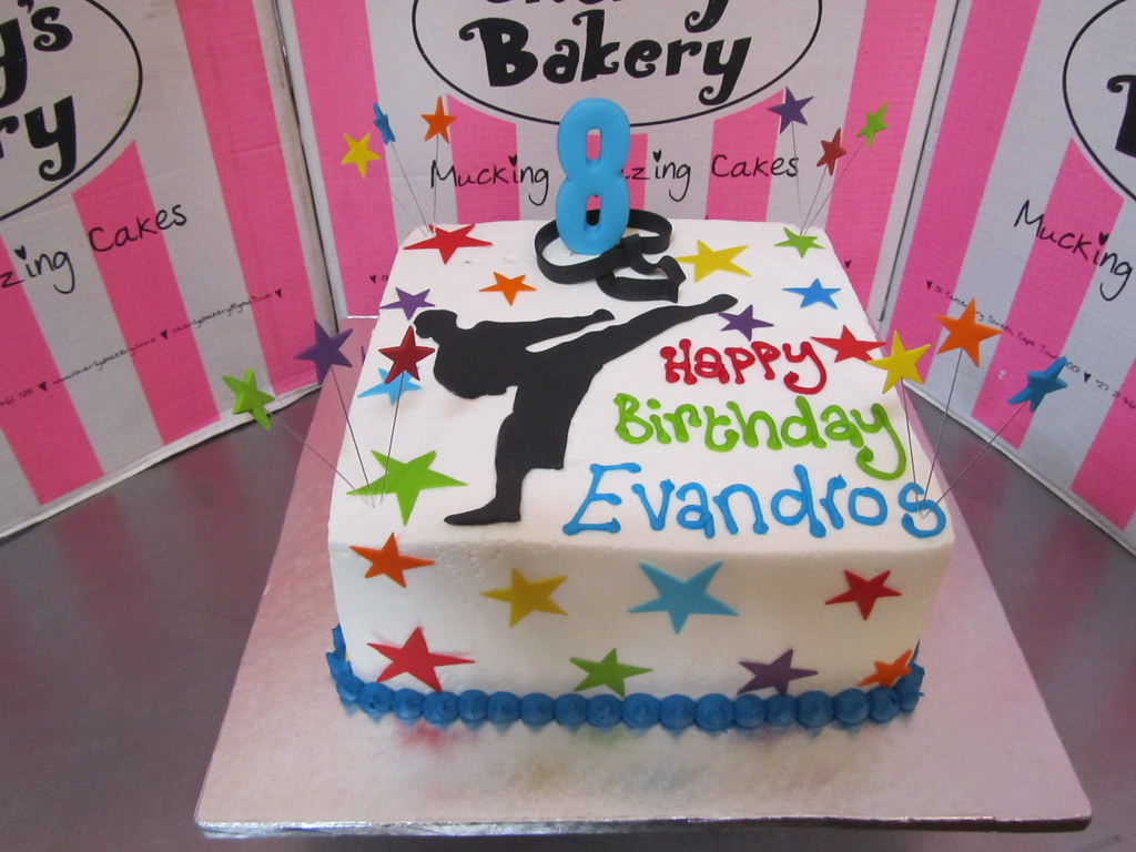 Outstanding Karate Themed 8Th Birthday Cake With Silhouette On Top S Flickr Birthday Cards Printable Trancafe Filternl
