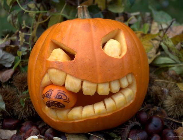 Halloween pumpkin face  eat little pumpkin  (15)