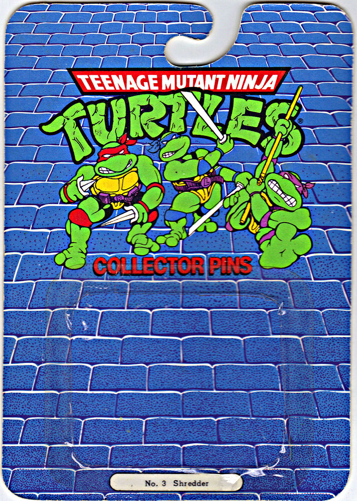 "ACE NOVELTY :: ""TEENAGE MUTANT NINJA TURTLES"" COLLECTOR PINS - No.3 'Shredder' // Card backer i (( 1989 )) by tOkKa"