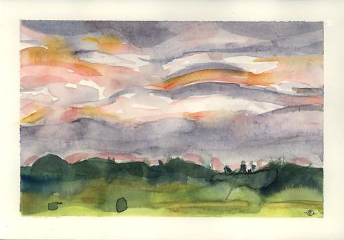 sunset clouds watercolor landscape maine jonesport downeastmaine marciamilnerbrage